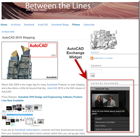 Custom AutoCAD Exchange Widget on Between the Lines Blog