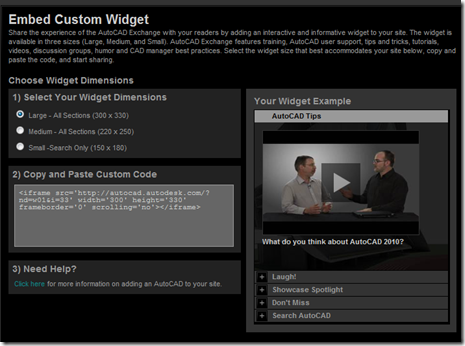 Embed Custom AutoCAD Exchange Widget