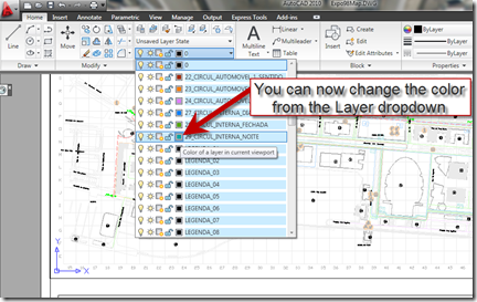 AutoCAD 2010 Change Layer Color from Layer Properties Dropdown