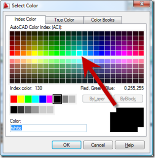 AutoCAD 2009 Layer Color Select Dialog