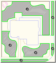 AutoCAD Showing the 6 Grass Regions