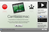 Camtasia for the Mac Startup Screen
