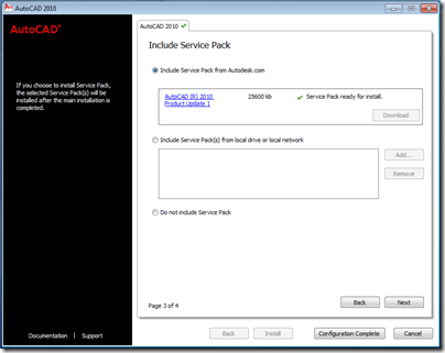 AutoCAD 2010 Update 1 Notification at Install