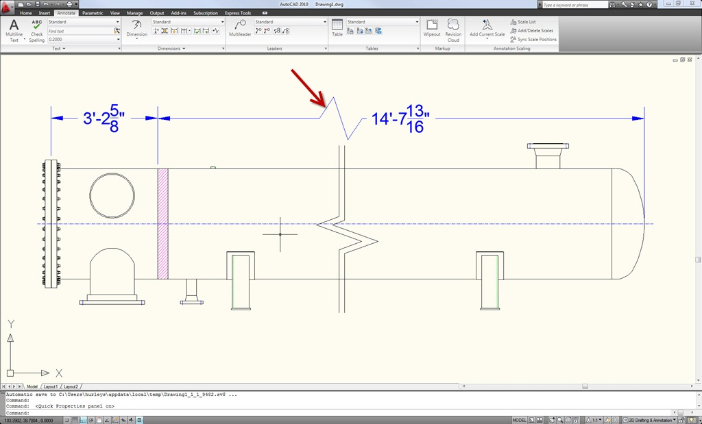 Dimension Line Autocad Autocad Jogged Dimension