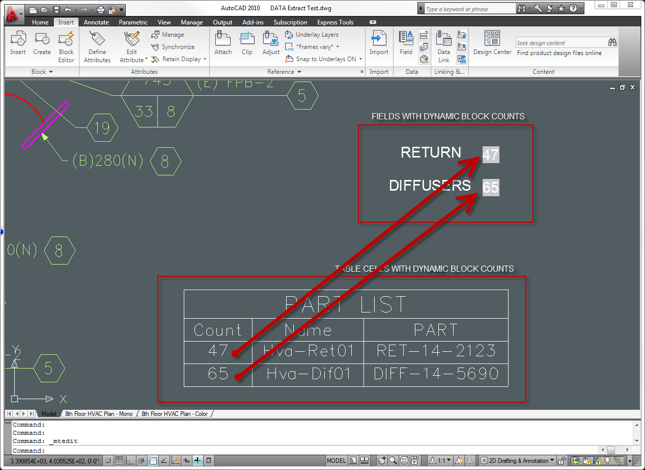Autocad Tip Reference A Block Count In Field Between The Lines Hvac Drawing Dwg 2010 Blocks With