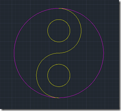 AutoCAD 2011 Yin-Yang Symbol creation Step 5 result