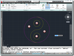 AutoCAD 2011 Yin-Yang Symbol creation Step 6