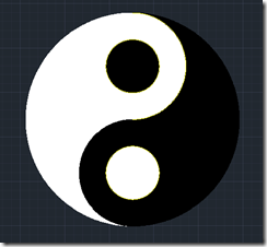 AutoCAD 2011 Yin-Yang Symbol Completed