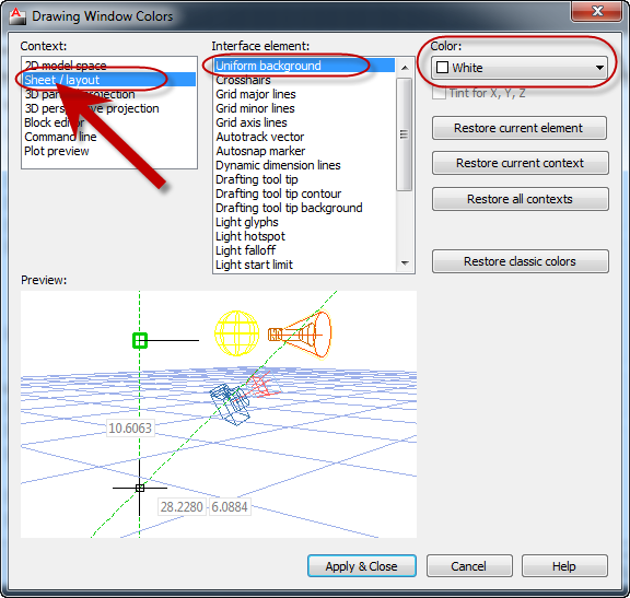 How to Change the AutoCAD Layout Background Color (Between