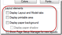 AutoCAD Display Properties Settings - Layout Elements