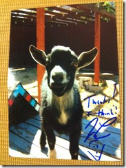 Jay Leno Autographed Pet Goat Photo
