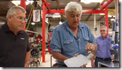 Gonzalo Martinez, Director of Strategic Research (Autodesk), Jay Leno, and Jim Hall of Big Dog Garage