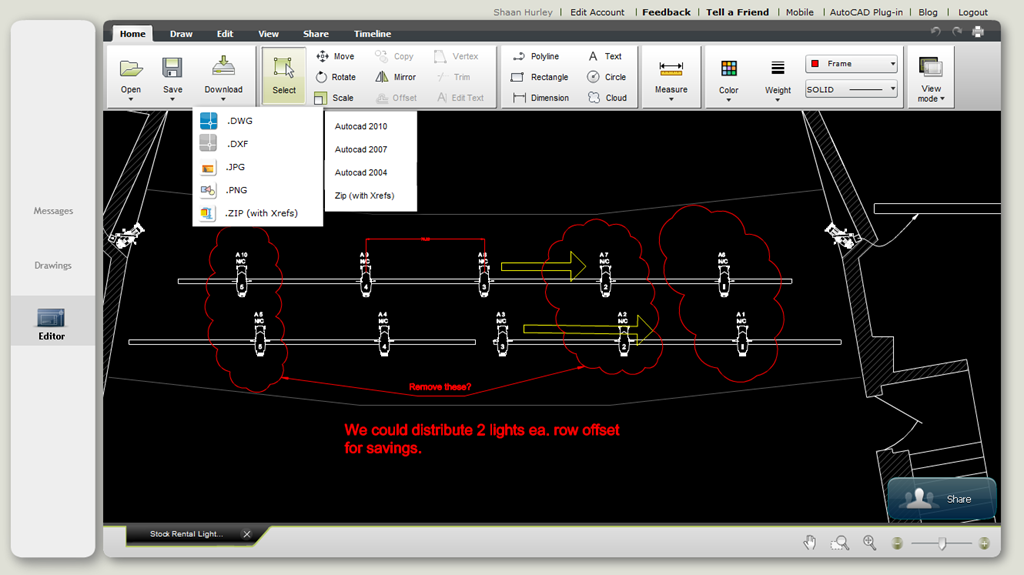 autocad ws showing some of the file save options dwg dxf jpg png