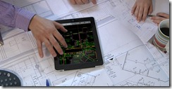 AutoCAD WS Mobile being used on an iPad at a design & construction meeting.