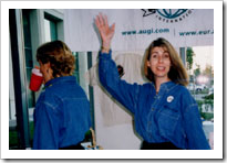Lynn Allen at Autodesk University Los Angeles 1997 (from AUGI)