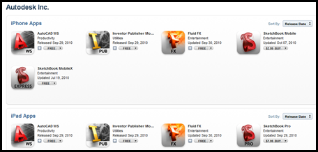 Autodesk Apps in Apple Store