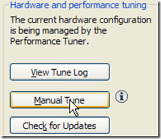 AutoCAD 2011 Manual tune button in the Performance Tuner dialog