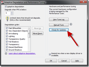 AutoCAD 2011 Adaptive Degredation and Performance Tuning