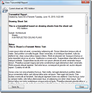 AutoCAD 2011 eTransmit View Transmittal Text Dialog