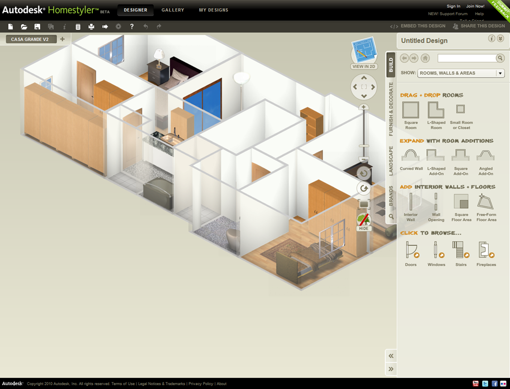 Autodesk home design autodesk homestyler refine your for Web based interior design software