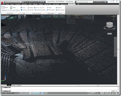 AutoCAD 2011 with Mandalay Bay Arena Point Cloud