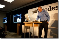 "Autodesk CEO Carl Bass demonstrates AutoCAD WS on an iPad live. ""tickling the iPad Drawing"""