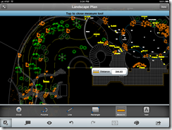 Measuring a DWG object with AutoCAD WS on an iPad.