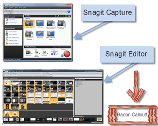 Snagit Editor, Snagit Capture and custom Bacon Callout