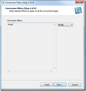 Snagit Conversion Filters dialog
