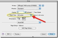 AutoCAD for Mac Print Dialog - Paper Sizes
