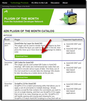 Autodesk Labs ADN Plugin of the Month download page