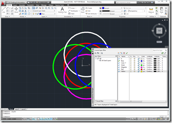 AutoCAD 2011 With Layer Dialog before the exercise with layers in default state.