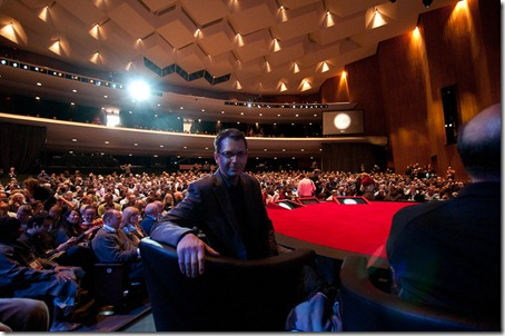 Autodesk Fellow Tom Wujec in a front row seat at the TED 2011 stage