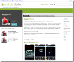 AutoCAD WS mobile in the Google App Marketplace