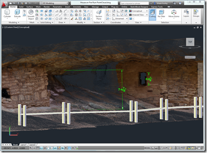 The House on Fire Ruin Point Cloud being referenced in a walkway design in AutoCAD 2012