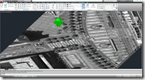 Andy the Android 3D model in AutoCAD 2012 over Google Earth imported image.