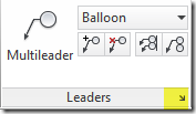 AutoCAD Leader tab on the ribbon menu