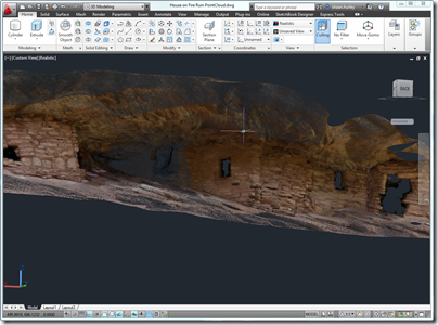 The House on Fire Ruin Point Cloud loaded in AutoCAD 2012