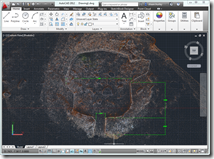 Kiva Ruins at Towerhouse as a point cloud in AutoCAD and drawing polylines and dimesions by snapping to point nodes