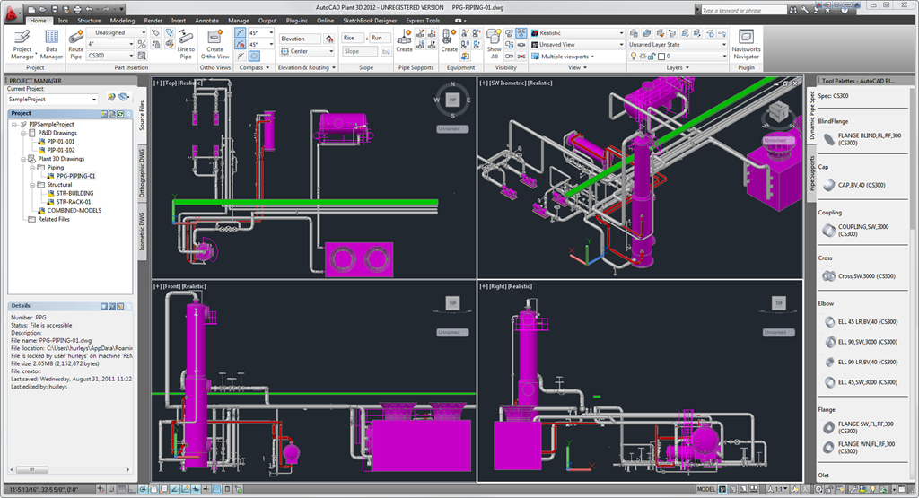 autocad plant 3d 2012 with 3d ortho design