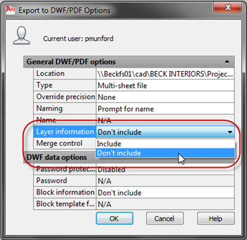 Export to DWF PDF Options