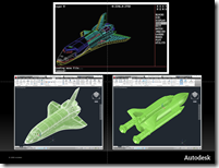 AutoCAD thoughout the 29 years and the space shuttle from 2.5D to 3D meshes