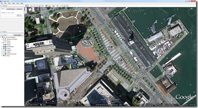 Google Earth plan view of the Justin Herman Plaza