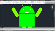Andy the Android drawn in AutoCAD