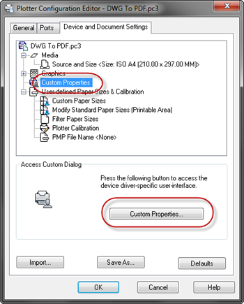 AutoCAD - DWG to PDF Configuration editor