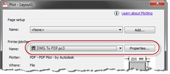 AutoCAD - DWG to PDF Plot settings