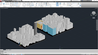 A psuedo City in AutoCAD being textured.