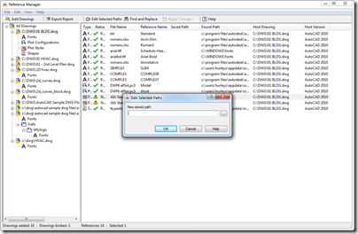 AutoCAD 2012 Reference Manager Edit Paths