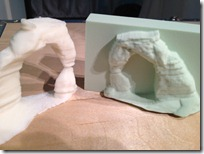 MakerBot 3D printed Arch (additive) and the ShopBot cut version (subtractive).