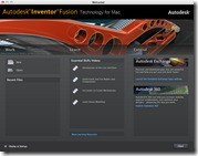 Autodesk Inventor Fusion for Mac Welcome Screen
